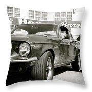 Detective Lieutenant Frank Bullitt, Steve Mcqueen, 1968 Ford Mustang Gt 390 Throw Pillow