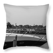 Detroit Lighthouse And Boat Black And White  Throw Pillow