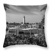 Detroit Lighthouse And Marina 3 Black And White  Throw Pillow