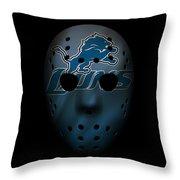 Detroit Lions War Mask 2 Throw Pillow