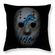 Detroit Lions War Mask 3 Throw Pillow