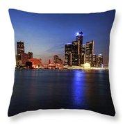 Detroit Skyline 1 Throw Pillow by Gordon Dean II
