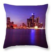 Detroit Skyline 2 Throw Pillow