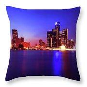 Detroit Skyline 3 Throw Pillow by Gordon Dean II