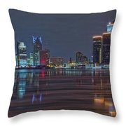 Detroit Skyline From Windsor In Hdr Throw Pillow