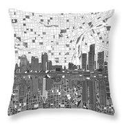 Detroit Skyline Map 5 Throw Pillow