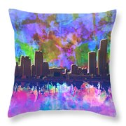 Detroit Skyline Watercolor 1 Throw Pillow