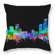 Detroit Skyline Watercolor 3 Throw Pillow