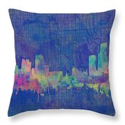 Detroit Skyline Watercolor Blue 3 Throw Pillow