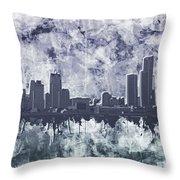 Detroit Skyline Watercolor Grunge Throw Pillow