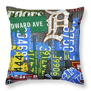Detroit The Motor City Michigan License Plate Art Collage Throw Pillow
