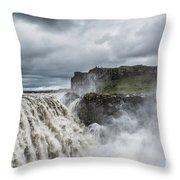 Dettifoss Waterfall Throw Pillow