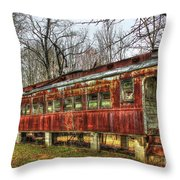 Devastation Railroad Passenger Train Car Fire Art Throw Pillow