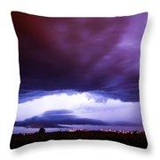 Developing Nebraska Night Shelf Cloud 001 Throw Pillow