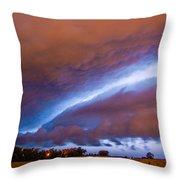 Developing Nebraska Night Shelf Cloud 007 Throw Pillow