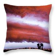 Developing Nebraska Night Shelf Cloud 009 Throw Pillow