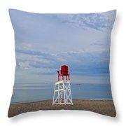 Devereux Beach Lifeguard Chair Info Board Marblehead Ma Throw Pillow