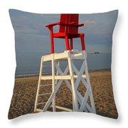 Devereux Beach Lifeguard Chair Marblehead Ma Throw Pillow