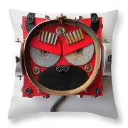 Devil Monkey Bot Throw Pillow by Jen Hardwick