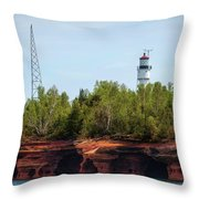 Devils Island Apostle Islands Lighthouse Throw Pillow