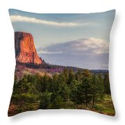 Devil's Tower Morning Throw Pillow