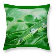 Dew Drops Throw Pillow by Irina Sztukowski
