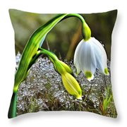 Dew On Lilly Of The Valley Throw Pillow
