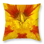 Dew On Nasturtium Throw Pillow
