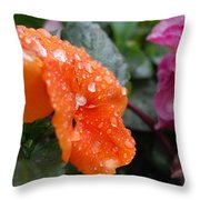 Dewy Pansy 2 - Side View Throw Pillow