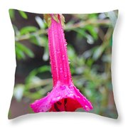 Dewy Red Bloom Throw Pillow