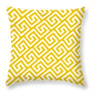 Diagonal Greek Key With Border In Mustard Throw Pillow
