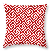 Diagonal Greek Key With Border In Red Throw Pillow
