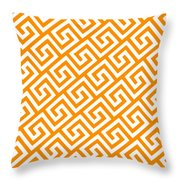 Diagonal Greek Key With Border In Tangerine Throw Pillow