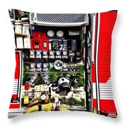 Dials And Hoses On Fire Truck Throw Pillow