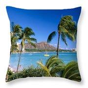 Diamond Head And Palm Trees Throw Pillow