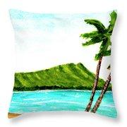 Diamond Head And Waikiki Beach #351 Throw Pillow