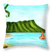 Diamond Head And Waikiki Beach Canoe #334 Throw Pillow