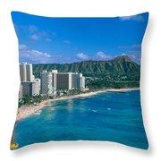 Diamond Head And Waikiki Throw Pillow