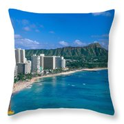 Diamond Head And Waikiki Throw Pillow by William Waterfall - Printscapes