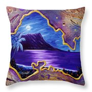 Diamond Head Moon Oahu #141 Throw Pillow