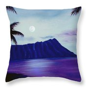 Diamond Head Moon Waikiki #34 Throw Pillow
