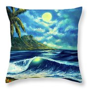 Diamond Head Moon Waikiki Beach #407 Throw Pillow