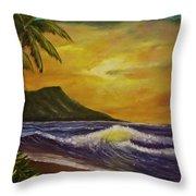 Diamond Head Sunrise Oahu #414 Throw Pillow