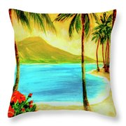Diamond Head Waikiki Beach #127 Throw Pillow