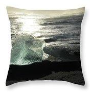 Diamond On Diamond Beach Black Sand Waves Clouds Iceland 2 2162018 1985.jpg Throw Pillow