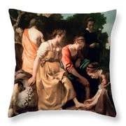 Diana And Her Companions Throw Pillow by Jan Vermeer