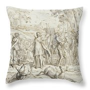 Diana And Her Nymphs Hunting Throw Pillow