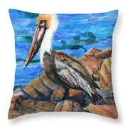 Dick The Pelican Throw Pillow