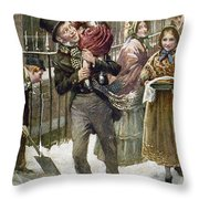 Dickens: A Christmas Carol Throw Pillow by Granger