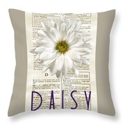 Dictionary Daisy Throw Pillow